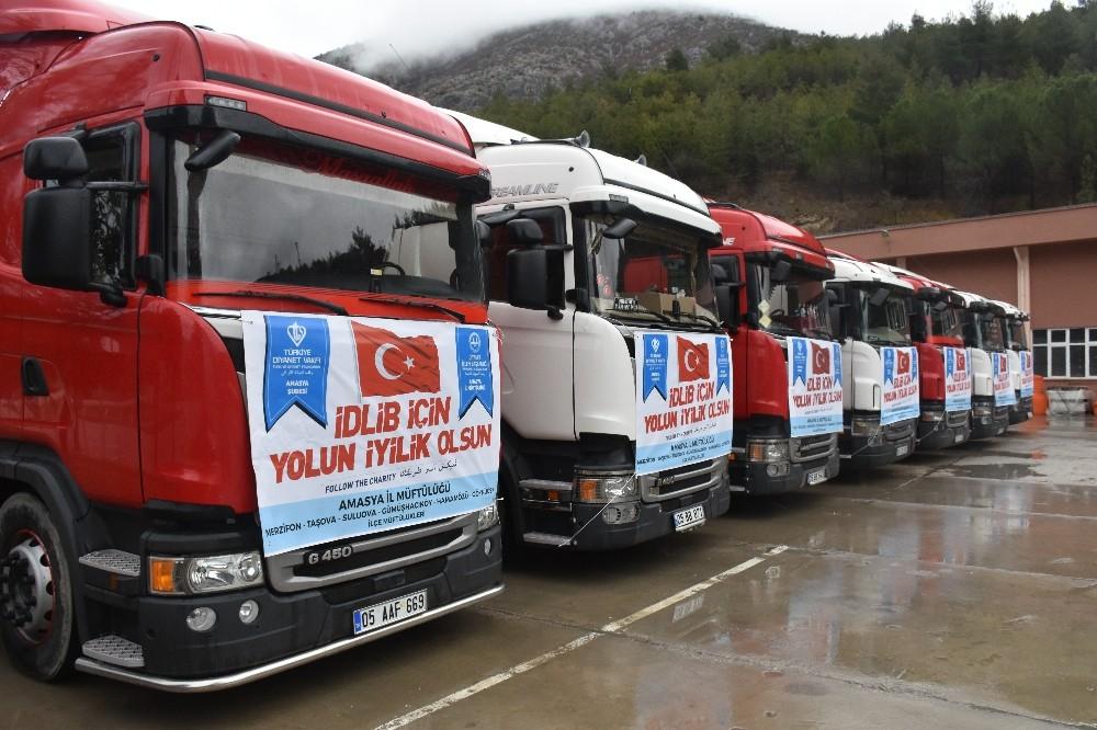 Amasya'dan İdlib'e 9 tır dolusu yardım