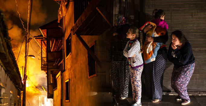 Ankara Kalesi'nde yangın: 7 ev kül oldu