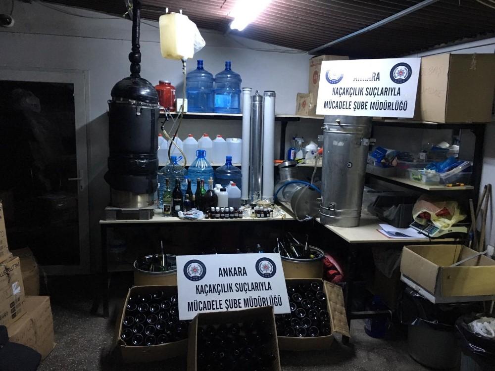 Ankara polisinden sahte alkol üretim tesisine baskın