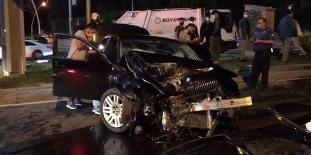 Ankara'da feci kaza! Otomil KGYS direğine çarptı