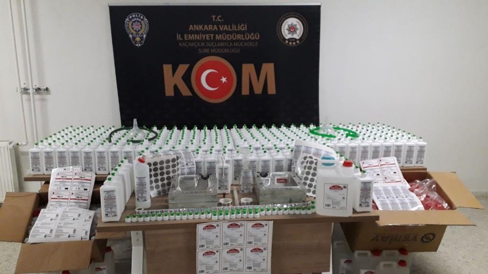 Ankara'da sahte dezenfekte ürünleri üreten çete çökertildi: 4 tutuklama