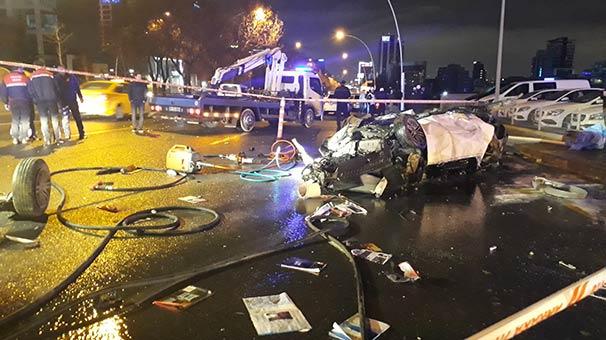 Ankara'da takla atıp alev alan otomobilin sürücüsü, öldü