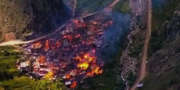 Artvin'deki yangından içler acısı görüntüler