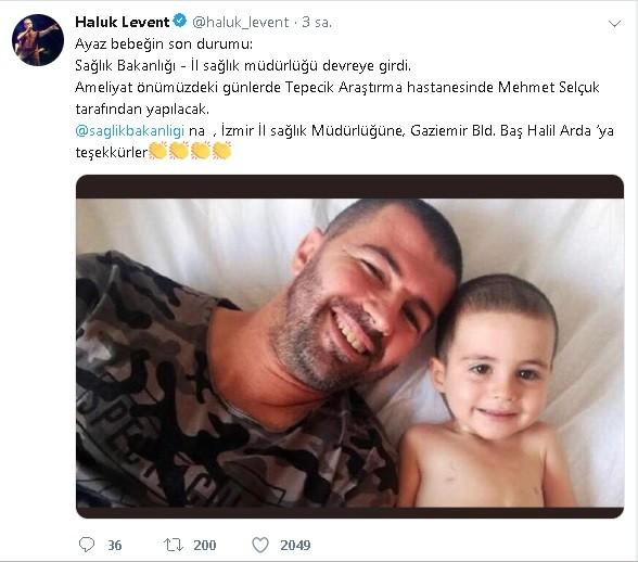 Ateş Ayaz'ın ameliyat olacağını Haluk Levent sosyal medyadan duyurdu