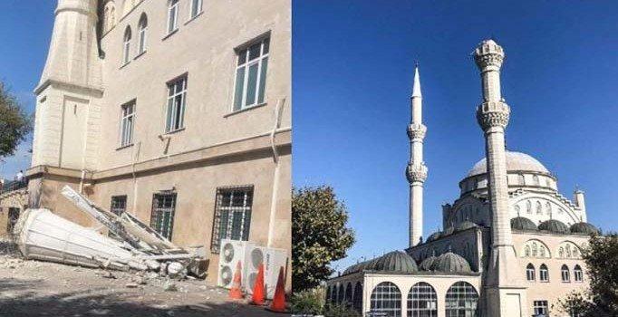 Avcılar'da depremle minaresi yıkılan cami mühürlendi