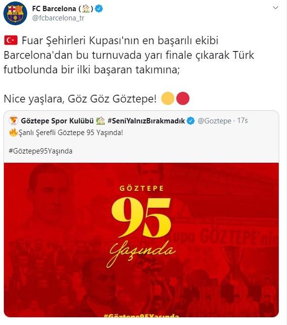 Barcelona'dan Göztepe'ye 95. yıl kutlaması