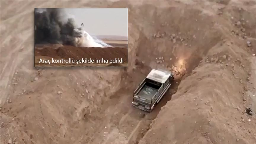 Barış Pınarı Harekatı bölgesinde teröristlere ait bombalı araç bulundu