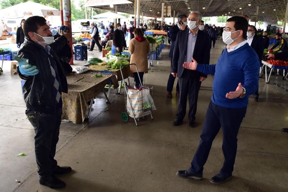 Başkan Tütüncü'den pazarlarda virüs tedbirleri denetimi