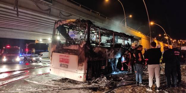 Başkentte facia! Yolcu otobüsü yandı: 1 ölü, 20 yaralı