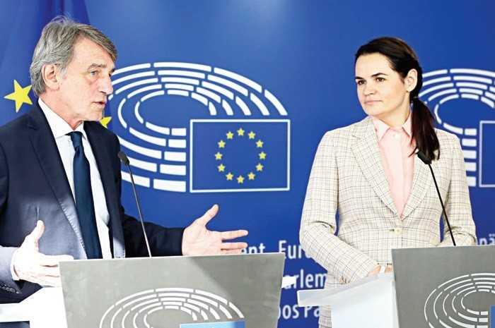 Belaruslu muhalif lider Brüksel'de destek arıyor