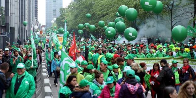 Belçika'da hükümet karşıtı gösteriler