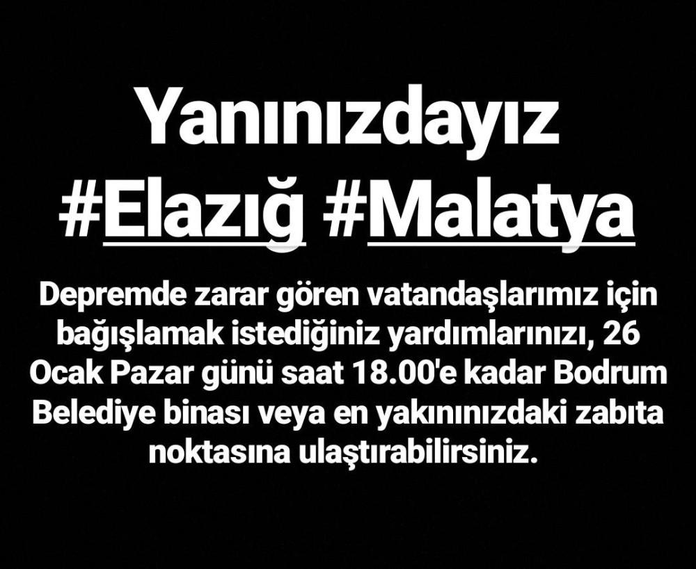 Bodrum Belediyesi Elazığ'a yardım için harekete geçti