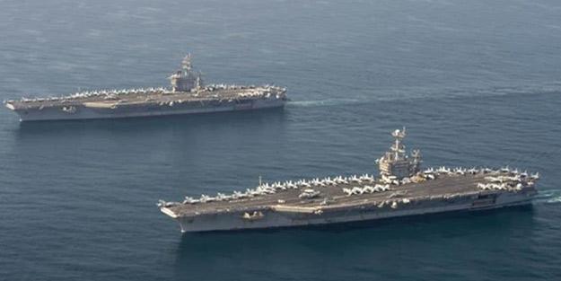 Bölgede harekete geçtiler! ABD iki uçak gemisi ile operasyona başladı