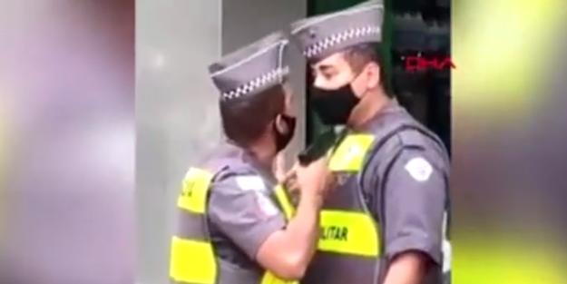 Brezilya'da şaşkına çeviren olay! Polisler birbirine silah çekti
