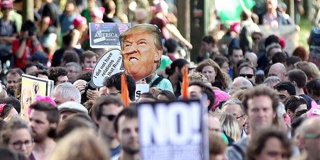 Brüksel'de Trump'a büyük protesto