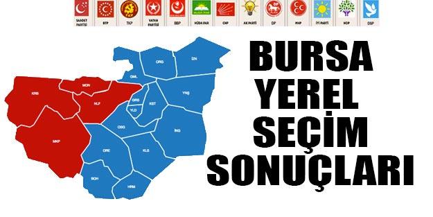 Bursa yerel seçim sonuçları 2019 Bursa ilçeleri seçim sonuçları 31 Mart seçimleri Cumhur ittifakı Millet ittifakı oy oranları