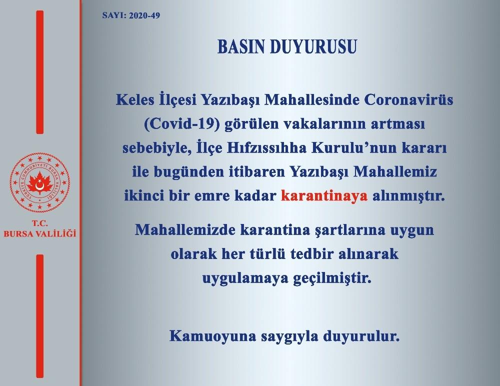 Bursa'da bir köy karantina altına alındı