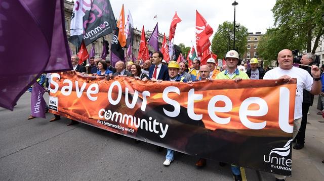 Çelik işçileri eylem yaptı