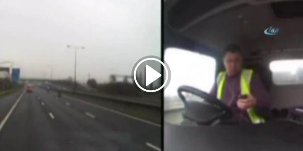 Cep telefonuna bakan adam trafikte dehşet saçtı!