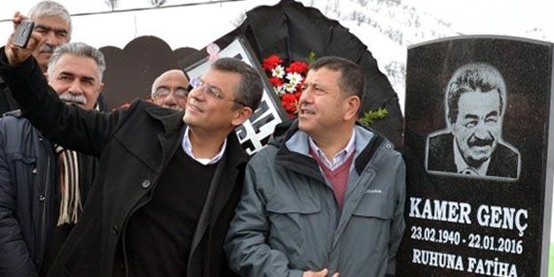 CHP milletvekillerinden Kamer Genç'in mezarı başında selfie