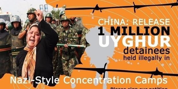 """""""Çin! bir milyon Uygur tutsağı serbest bırak!"""""""