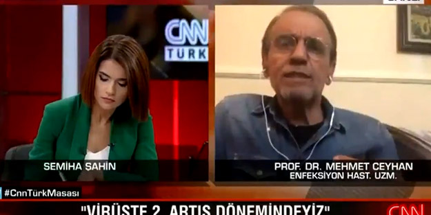 CNN Türk'te Prof. Dr. Mehmet Ceyhan konuşurken ilginç anlar