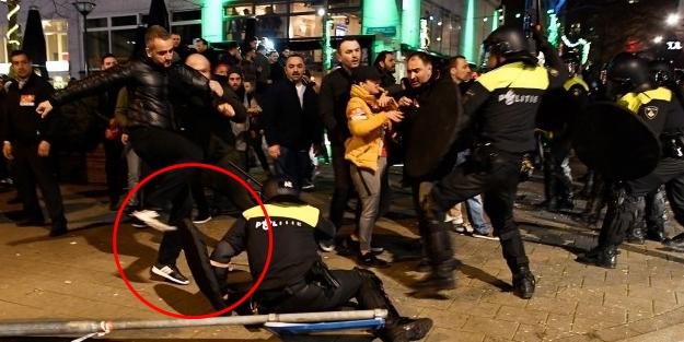 Coplu köpekli Hollanda polisine Türk tekmesi!