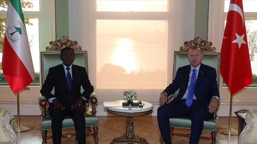 Cumhurbaşkanı Erdoğan, Ekvator Ginesi Cumhurbaşkanı Mbasogo ile görüştü