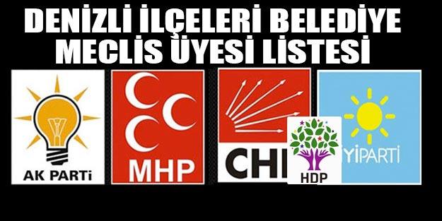 Denizli ilçe meclis üyeleri 2019 listesi AK Parti MHP CHP İYİ Parti HDP listesi