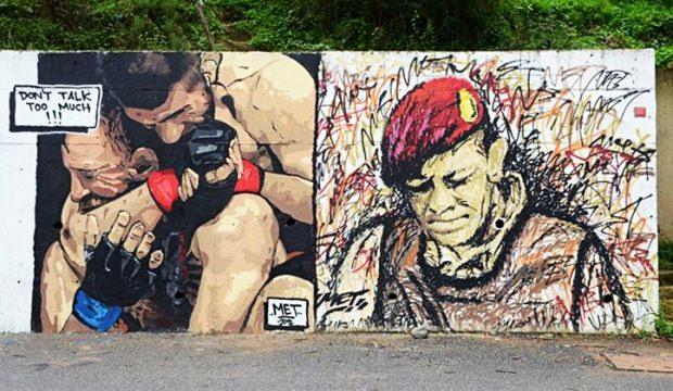 Dünya bu grafitiyi konuşuyor! Bir yanda Ömer Halisdemir bir yanda Khabib