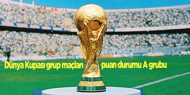 Dünya Kupası grup maçları puan durumu A grubu
