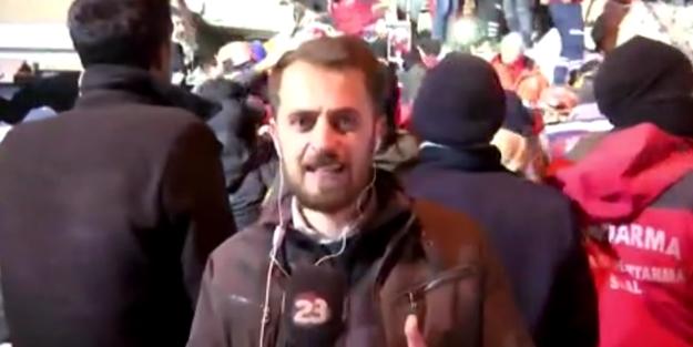 Elazığ'da deprem bölgesindeki muhabirin duygusal anları!