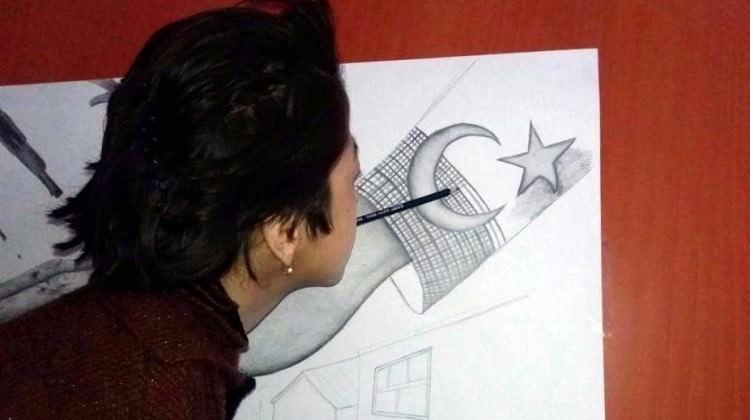 Engelli Afgan kızdan 15 Temmuz tablosu