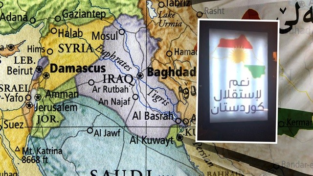 Erbil sokaklarında skandal harita!