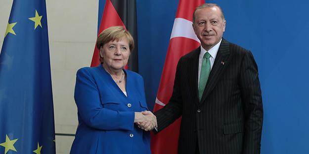 Erdoğan-Merkel görüşmesinden kareler...