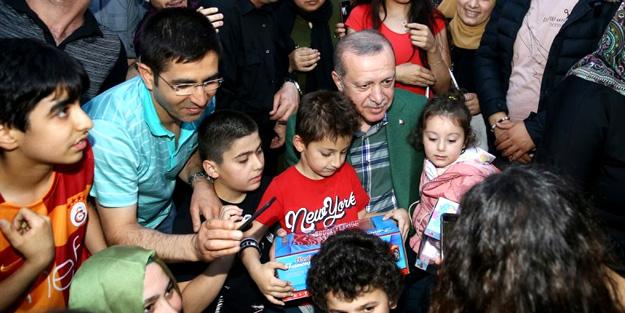 Erdoğan'ı bir anda karşılarında gördüler!
