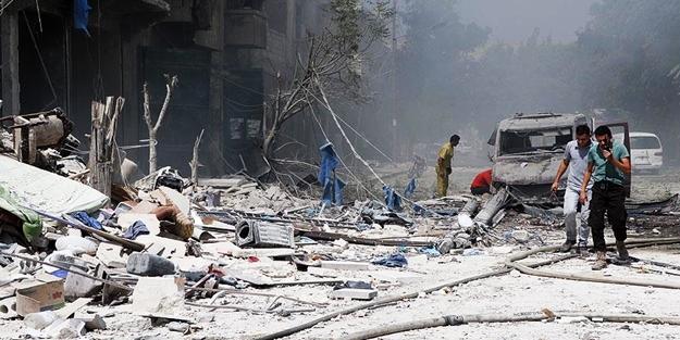 Esed rejimi Halep'te taziye çadırını vurdu!