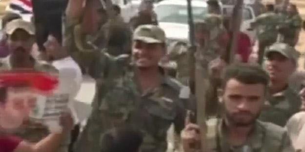 Esed'in ordusu Ayn İsa'ya sloganlarla girdi! İşte o görüntüler