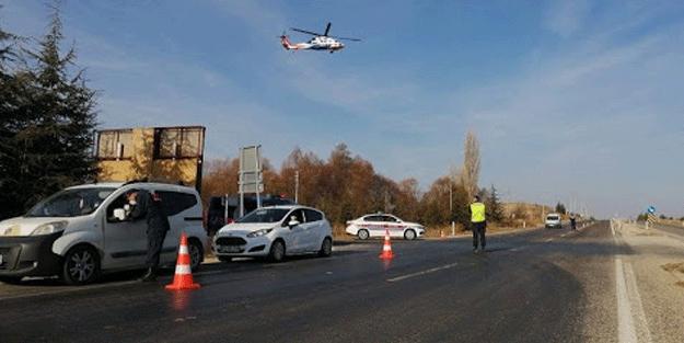 Eskişehir'de helikopterli trafik denetimi