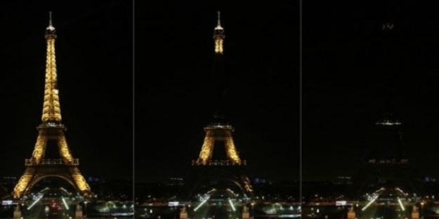 Eyfel Kulesi'nin ışıkları Afganistan için karartıldı