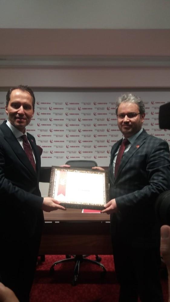 Fatih Erbakan'dan Yeniden Refah Partisi Yozgat İl Başkanlığına teşekkür plaketi