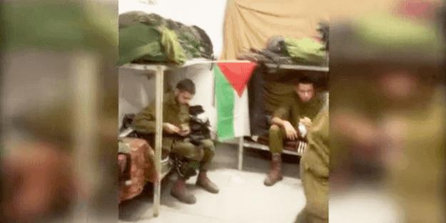 İsrail askeri, Filistin bayrağı astı