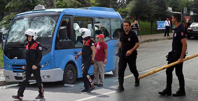 Gebze-Harem minibüs hattındaki minibüsçüler birbirine girdi