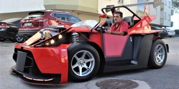 Görenler hayran kaldı! Emekli maaşıyla otomobil üretti