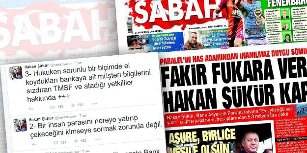 Hakan Şükür Sabah'ın manşetini Akit'in haberi sanınca...