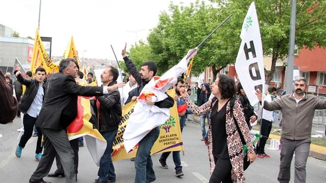 HDP'liler yürüyüşte olay çıkardı