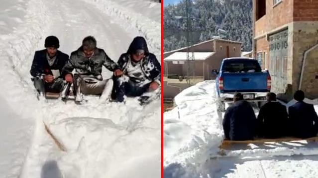 """""""Her şeyi devletten beklememek lazım"""" 3 kişi karla kapanan yolu böyle açtı"""