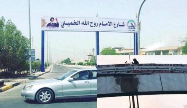 Irak'ta göstericiler 'Humeyni Caddesi'nin tabelasını indirdi