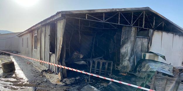 İşçilerin kullandığı konteynerde yangın