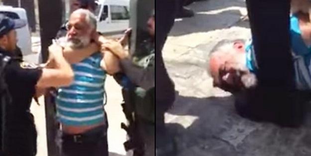 Terörist İsrail polisi yaşlı adamı darp etti